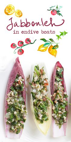 Hearty tabbouleh fills endive for a fresh spring appetizer. See the full post on Delish Dish: http://www.bhg.com/blogs/delish-dish/2013/04/11/better-cook-tabbouleh-in-endive-boats/?socsrc=bhgpin041613tabboulehboats