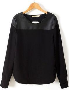 Black Long Sleeve Contrast PU Blouse | Sheinside.com (19,50€)