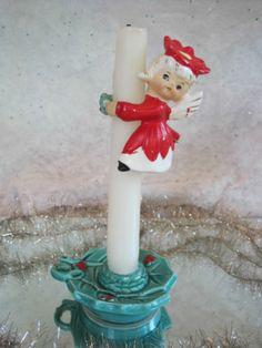 Vtg 50's Japan Ceramic Christmas POINSETTA ANGEL Candle HUGGER CLIMBER Holder