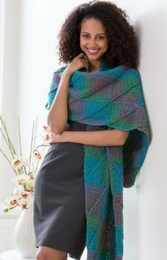 Crocheted Mitered Square Shawl Free Pattern from Red Heart Yarns