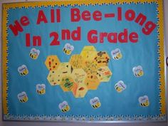 We All Bee-long In 2nd Grade school bulletin boards, bees, office supplies, bee theme, classroom bulletin boards, door, teacher, 2nd grade, back to school