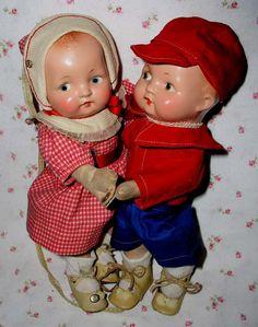 Super RARE 1930s Effanbee 1st Edition DANCING Dolls -- Patsy Baby TWINS -- Predates Patsy BabyKIN
