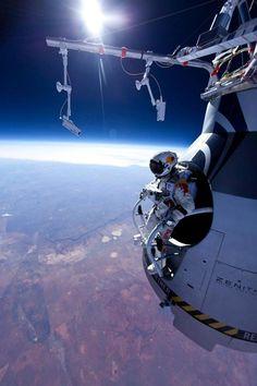 Sky diving from space. Details below.  http://www.redbullstratos.com
