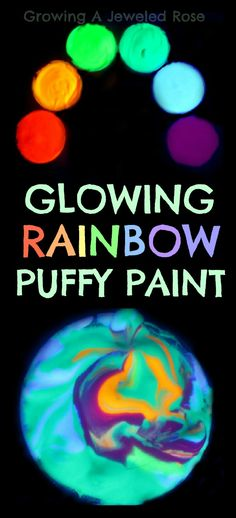 This Glowing RAINBOW puffy paint is simple to make and SO FUN for kids to use in art and PLAY!