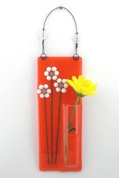 Hanging Bud Vase / Fused Glass Pocket Vase / Flower Vase / Wall Vase - Orange with White Daisies