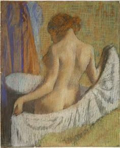 Hilaire-Germain-Edgar Degas, After the Bath, Woman with a Towel, c. 1893-97, Harvard Art Museums/Fogg Museum. baths, pastel, oil paintings, art museum, museums, bathroom, prints, edgar degas, cambridge