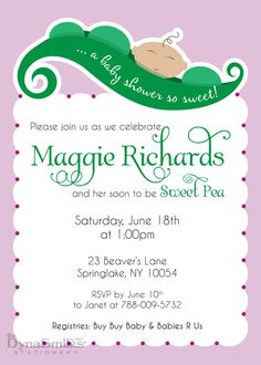 Sweet Pea - Baby Shower Invitation