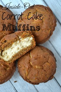 Inside Out Carrot Cake Muffins - My favorite dessert turned healthy - a fabulous snack! LuvaBargain.com