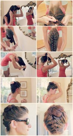 Another easy one!  Separate your hair in half horizontally and secure the front half for now.  Flip your head, French braid up and finish with a regular braid securing at the end. Undo the front section and add it to the braid. Twist it around and pin it!
