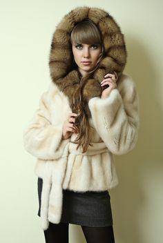 mink & sable fur hoodie
