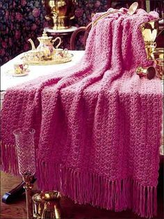 Royal satin pattern - 43 x 64 inches; about 11 skeins; hook size J.  Worked in shells & clusters - easy.  Really like this color  #crochet #afghan #throw #blanket