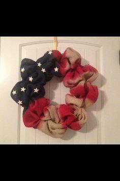 Burlap 4th of July wreath!! Love!