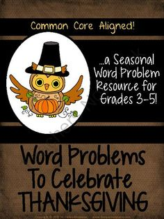 "Seasonal Word Problem Set:  Thanksgiving from Fourth Grade Studio on TeachersNotebook.com (38 pages)  - A part of my popular word problem series, these problems provide fun, real world ""differentiated"" word problems with a Thanksgiving theme."