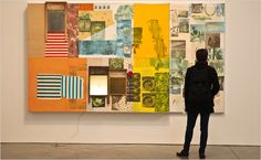 """""""Robert Rauschenberg,"""" a survey at Gagosian Gallery, includes """"Palladian Xmas"""" (1980), with acrylic, fabric and collage on wood."""