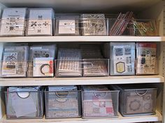 Nichol Magouirk's Stamp storage system using Fridge Binz, Mesh bins from the Container Store, and clear stamp pockets (Avery Elle, Office Depot Clear DVD/CD Binder pages, and Memorex Clear CD/DVD Keepers)