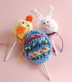 """Free pattern for """"Lollipop Covers""""...these would be so cute (and different) in your Easter baskets!"""