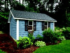 Blue Shed with Vinyl Shingles