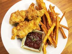 Buttermilk-Thyme Chicken Tenders with Cranberry Mustard Sauce and Sweet Potato Fries. #recipe