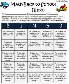 Back to School Math Bingo Interactive Activity For Grades 3-5. $