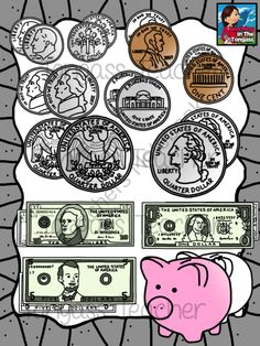 Money Clipart American Currency--Coins and Dollars Bundle ... Blank Alarm Clock Clipart