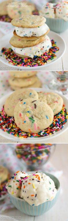 Funfetti Cake Batter Ice Cream Sandwiches - homemade ice cream without a machine!