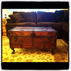 Steamer trunks on pinterest steamer trunk trunk coffee for How to turn a trunk into a coffee table
