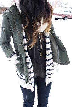 Striped sweater layers military green field jacket hoodie comfy casual laid back winter outfit chill