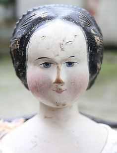 A LARGE 20inch 1840-50's CARVED HAIR WOODEN DOLL