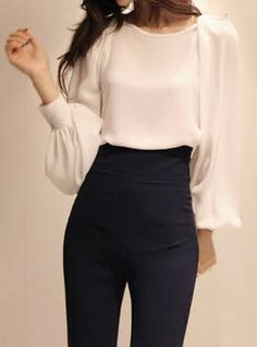 White-Chiffon, Puff Sleeves | Blouse.   dresslily.com