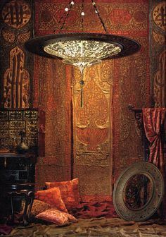 Fortuny lamp & rich fabrics