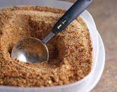 Rachel Ray talked about how you should make your own taco seasoning because the stuff you buy in stores is full of sodium(and it has silica in it, which is like the little packet found in new shoes that says DO NOT EAT!). This is just full of flavor. Simply spices! 1 T chili powder, 1 T ground cumin, 1 T garlic powder, 1 T onion powder, 1/4 T crushed red pepper