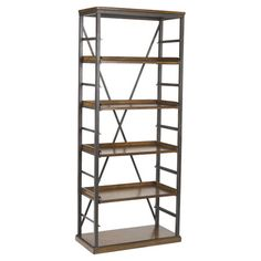 """A handsome addition to your living room or library, this industrial-chic bookcase showcases 4 adjustable shelves and a timeless oak finish. ...68"""" H x 28"""" W x 14""""D"""