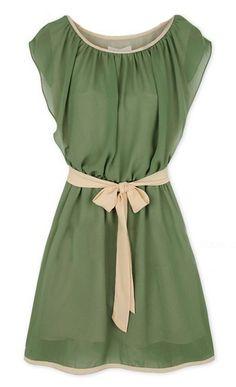 Round Neck Self-Tie Waist Chiffon Dress