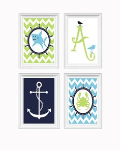Nautical Decor Nursery Art Ocean Initial Anchor by FMDesignStudio, $45.00 Nice colors