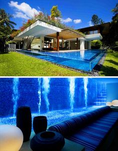 Most swimming pools reside on the surface, but this one extends downward to the home's basement, complete with a lounge area for guests
