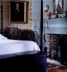 decor, prim bedroom, fireplac, coloni bedroom, hous, bedrooms, antiqu, countri, blues