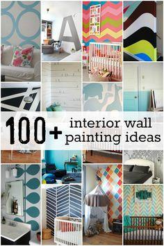 DIY - Amazing!  #100+ Interior Wall Painting Ideas + Tutorials! at Remodelaholic!