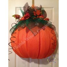Pumpkin Deco Mesh Wreath made with half ball wreath form.  Submitted to Craftoutlet.com photo contest