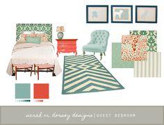 Guest Room Mood Board color palett, guest bedrooms, color schemes, color pallettes, mint, turquois bedroom