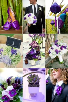 purple and green wedding inspiration spring summer wedding flowers. Purple and green are totally my colors. Bright, like the top left with shoes and plant.