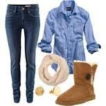 I would soo wear this ecspecially the uggs. i with i had somee... #uggs #outfit #blurshirt #jeans #scarf