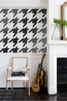 Modern Twist Houndstooth print Geometric Couture Designer Pattern Stencil for Walls Decor better than Vinyl Bold Large size. $34.00, via Etsy.