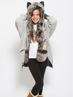 What's Your Spirit Animal? ...... GREY WOLF WARRIOR ........... (Faux Fur, Limited Collection)..... Traits: Loyal > Social > Teacher..... Find out more about the #Grey #Wolf #Warrior #Spirit #Animal at: https://www.spirithoods.com/kids/girls/greywolfwarrior/963/ $69 #Gifts #Fashion #SpiritHood #SpiritHoods #Hoodie #FauxFur #Paws #Scarf #Kids #Girls #ProBlue #InnerAnimal