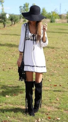 In the winter, with sweater tights and without the hat. Thigh high boots + casual dresses.