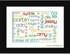 Use Wordle for class list and then frame to display...  This would be a cute sign on the door for back to school night :)
