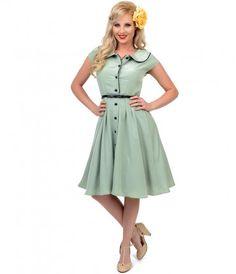 Sage Green Button Up Swing Dress #uniquevintage #rockabilly