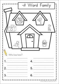 IT Word Family Games-Activities-Worksheets {FREE}. 77 pages. A page form the unit: Who lives here writing page