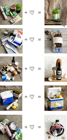 Great home made DIY gift ideas! For the gardener, the pet owner, the beach beer drinker, the baker and for the romantic couple!