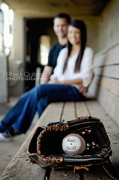 baseball engagement.  @rachelgentry95 maybe we could do a wedding pic like this?!