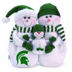 Michigan State Spartans Plush Snowman Family